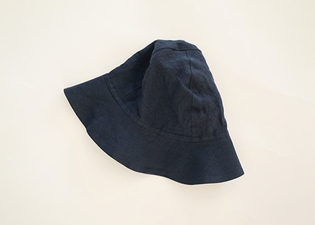 Women Sun Hat, Navy Linen