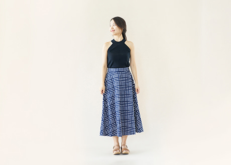 Cotton Flare Skirt, Navy Check